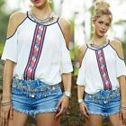 Women Cut Out Shoulder Shirt Loose Blouse Tops Summer Girl White T-Shirt Vintage