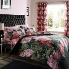 Catherine Lansfield Dramatic Floral Black Pink Duvet Quilt Cover Bedding Set