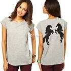 Women Horse Print In Back Casual Short Sleeve Loose Tops T-Shirt Blouse DZ88