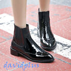 Womens stylish ankle short chelsea Boots pull on Patent Leather low Heels shoes