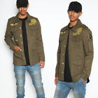TheMogan Men's Gold Patch Cotton Twill Patched Field Military Utility Jacket