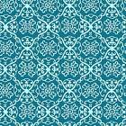 SUNDAY FLOWER MEDALLION DAMASK BLUE QUILT SEWING FABRIC Free Oz Post