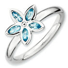 Blue Topaz Rose Flower Ring .925 Sterling Silver Size 5-10 Stackable Expressions