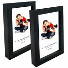 "Black Box Photo Frames 4"" x 6"" Picture Frame Solid Wood Wall & Desk Mountable"