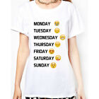 New Fashion Women Days of the Week Emoji T Shirt Tops Sleeveless Blouse Summer