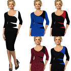 Womens Vintage Casual Patchwork Bodycon Office Wear to work Pencil Dress 4435