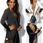 New Womens Autumn Casual Stitching Leather Long Sleeve Cardigan Outwear Coat