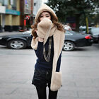 1x Lady Women Cute Plush Hat Scarf Gloves One-Piece 3 in 1 Suit Winter Warm Gift