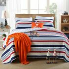 New Striped King Size Bed Linen Quilted Bedspreads 100% Cotton Coverlets Set