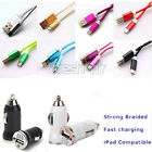 Braided USB Data Sync Cable + Car Charger Adapter for Android iPhone5 5S 6 Plus