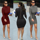 2017 Hot Fashion Women Sexy Bodycon Mini Dress Stretch Long Sleeve Back Zipper