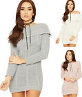 Womens Lurex Cable Knitted Jumper Dress Ladies Bardot Off Shoulder Bodycon