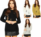 Womens Cable Knitted Jumper Top Ladies Ripped Distressed Round Neck Plain