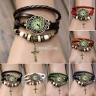 Woman Leather Bracelet Bronze Cross Pendant Quartz Wrist Watch Wristwatche S0BZ