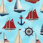 DOWN BY THE SEA NAUTICAL SAIL BOATS OCEAN SEWING CRAFT QUILT FABRIC Free Oz Post