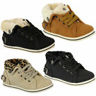 Girls Trainers Kids High Ankle Faux Fur Boots Lace Up Shoes Leopard Print Winter