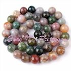 8mm Round Shape Multicolor Indian Agate Gemstone Spacer Loose Beads Strand 15""