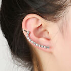 1PC Long Silver Gold Crystal Rhinestone Ear Cuff Piercing Clip On Earrings Gift