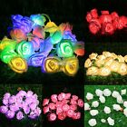 20PC LED Rose Flower String Lights Lamp Chain Wedding Garden Party Decor S0BZ