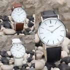 Men Women Fashion Casual PU Leather Analog Stainless Steel Quartz Wrist Watch MJ