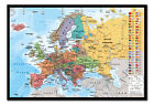 Europe Map & Flags Pin Board - Quality Framed Cork Board With Pins Ready To Hang