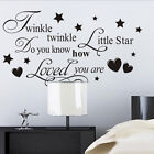 Wall Decal Quote Twinkle Twinkle Little Star Do You Know How Loved You Are Art