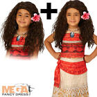 Deluxe Moana + Wig Girls Fancy Dress Hawaiian Disney Book Day Kid Childs Costume