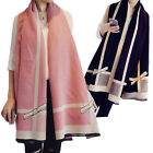1PC Women Long Cashmere Bow Plaid Winter Warm Scarf Wrap Shawl Scarves US STOCK