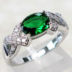 FANCY 1 CT EMERALD 925 STERLING SILVER RING SIZE 5-10