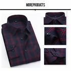 HOT Classic Flannel Mens Long Sleeve Plaids Checks Casual Slim Dress Shirts Tops