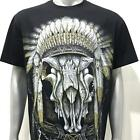 l4 Rock Chang T-shirt Tattoo Glow in Dark Indian Tribe Skull Ghost Skeleton Kill