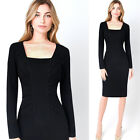 Womens Elegant Vintage Ruched Draped Slim Casual Wear To Work Office Dress 4528