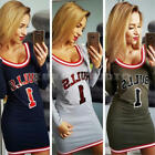Women Lady Long Sleeve Letter Print Bodycon Tops Blouse T Shirt Short Mini Dress