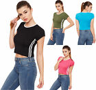 Womens Striped Cropped Top Ladies Short Sleeve Round Neck Plain Sporty Stretch