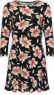 Womens Plus Floral Print Swing Dress Top Ladies Long Sleeve Round Neck New 14-28