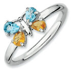 Blue & Topaz Citrine Butterfly Ring .925 Silver Sz 5-10 Stackable Expressions