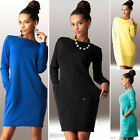 UK Womens Jumper Dress Long Sleeves Top Ladies PARTY MINI DRESS TUNIC Size S-XL