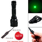 Tactical CREE Green LED Flashlight + Remote Switch + Offset Mount for Hunting