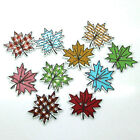 50/100pcs Mixed Wooden Maple Leaf Pattern Craft Button Card Sewing Scrapbook
