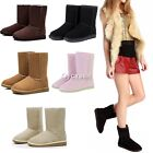 Girls Lady Stylish Women Winter Warm Snow Boots Fur Lined Mid-calf Ankle Shoes D