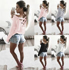 New Womens Pullover Loose T-Shirt Blouse Casual Criss Cross Back Jumper Tops Tee