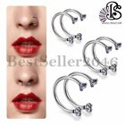 2PCS 16G Cubic Zirconia Stainless Steel Horseshoe Bar Nose Lip Ear Body Piercing