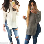 HX High-quality Knitted Slim Sweater Long Split Knitwear Women Winter Fall Tops