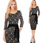 Womens Elegant Vintage Flower Lace Belted Tunic Casual Party Sheath Dress 4255