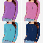 Womens Casual O-Neck Long Sleeve Chiffon T Shirt Summer Loose Tops Blouse NEW AU