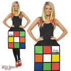 FANCY DRESS COSTUME # LADIES 1970s 80s RETRO RUBIKS CUBE 3D DRESS SIZE 8-18