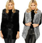Womens Faux Fur Gillet Ladies Sleeveless Lined Waistcoat Top Plain New 8-16
