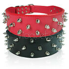 "19-22"" 23-26"" Black Pink Red spikes Leather Dog Collar Large X- Large"