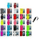 Hybrid Mesh Hard/Soft Silicone Case Cover+Stylus Plug for iPhone 5 5S Accessory