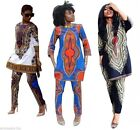 Women's Traditional African Print Dashiki Suit Long Sleeve Tops + Pants Trousers